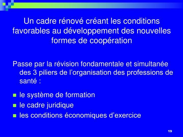 Un cadre rénové créant les conditions favorables au développement des nouvelles formes de coopération
