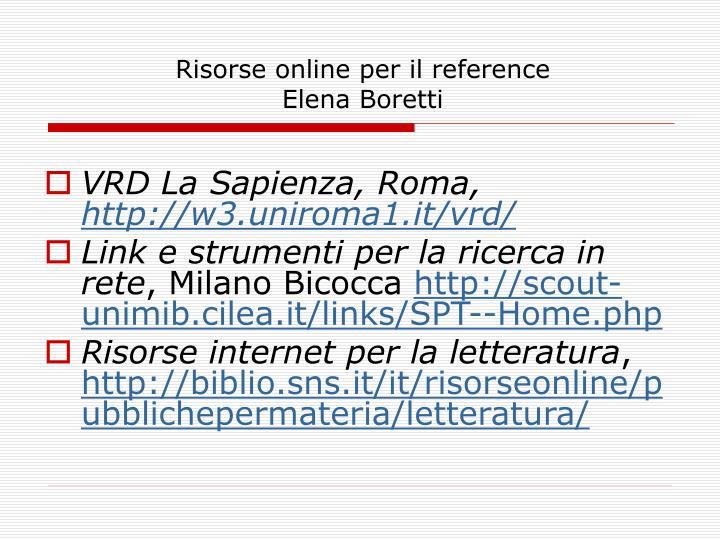 Risorse online per il reference