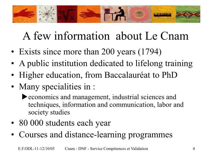 A few information  about Le Cnam