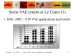 some vae results at le cnam 1