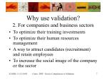 why use validation 2 for companies and business sectors