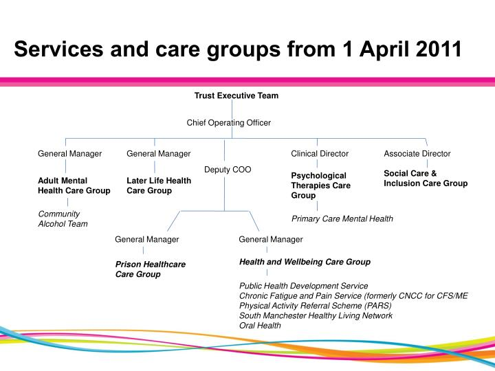 Services and care groups from 1 april 2011