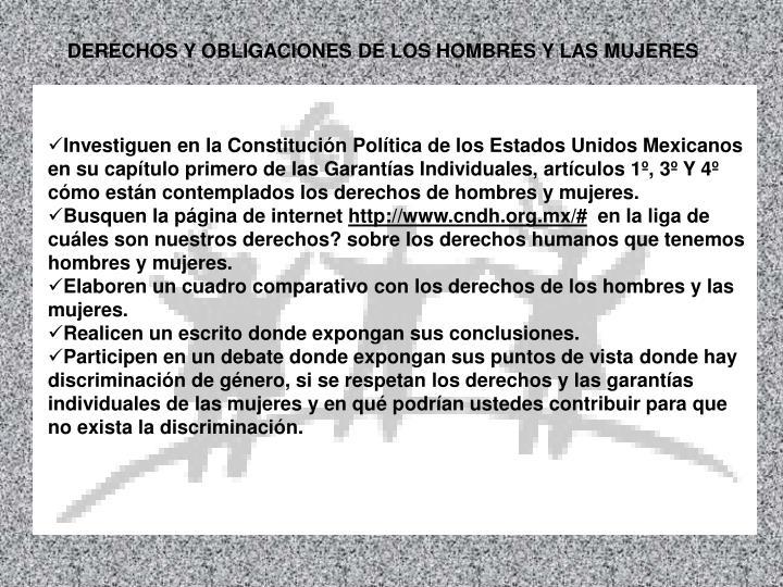 DERECHOS Y OBLIGACIONES DE LOS HOMBRES Y LAS MUJERES
