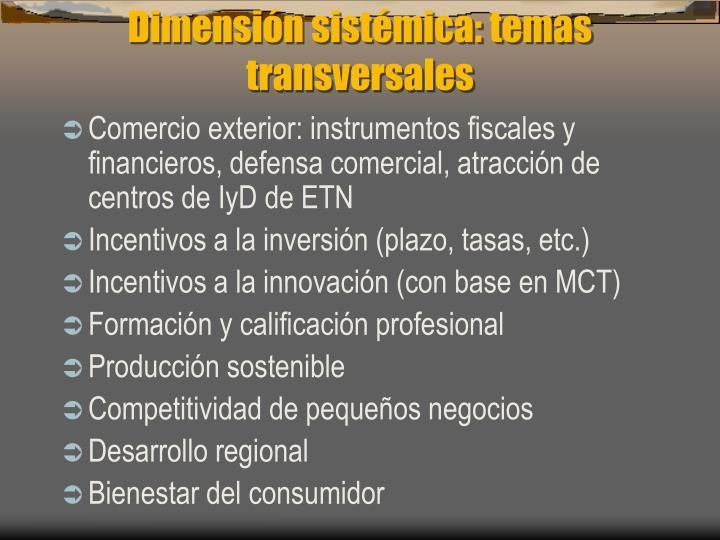 Dimensión sistémica: temas transversales