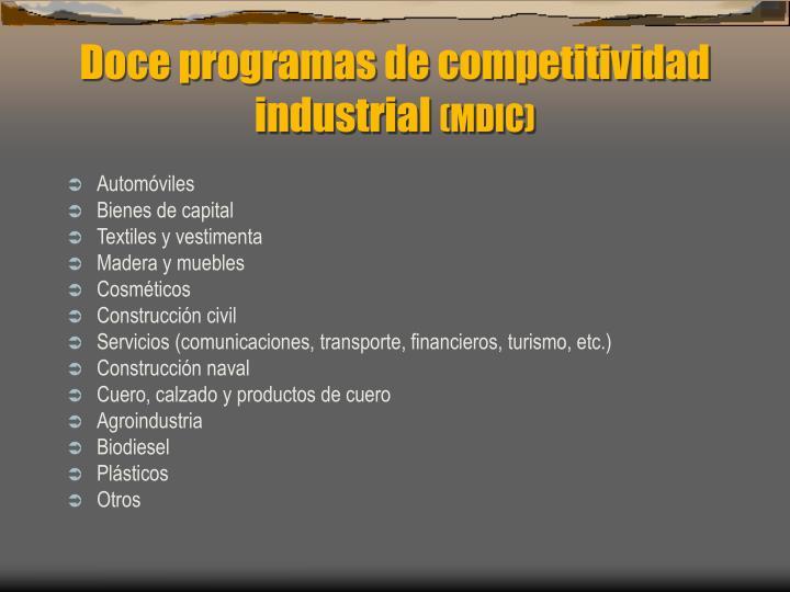 Doce programas de competitividad industrial