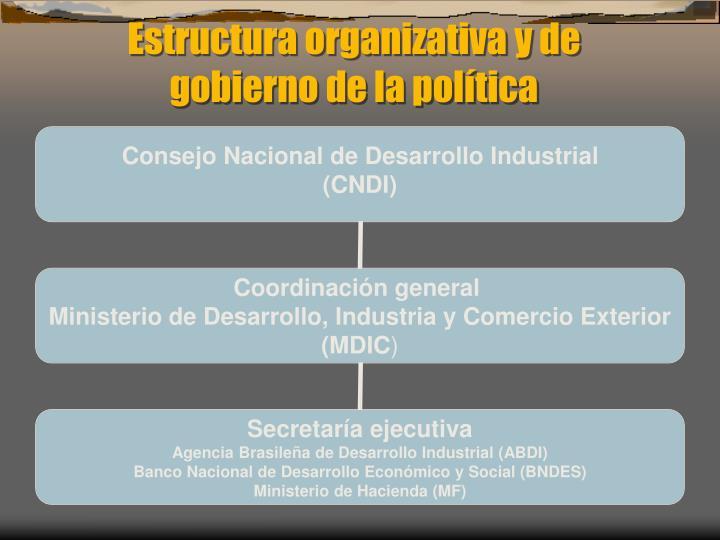 Estructura organizativa y de gobierno de la política