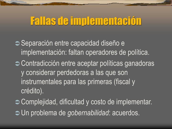 Fallas de implementación