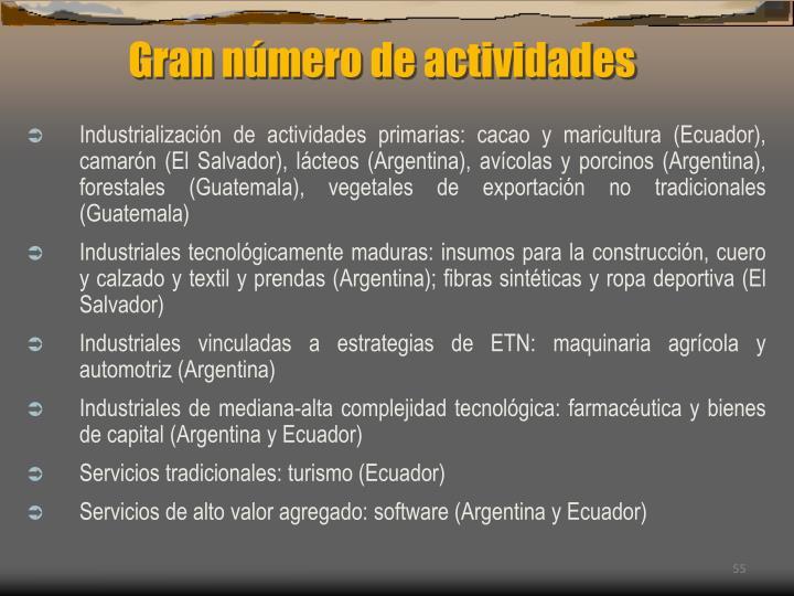 Gran número de actividades
