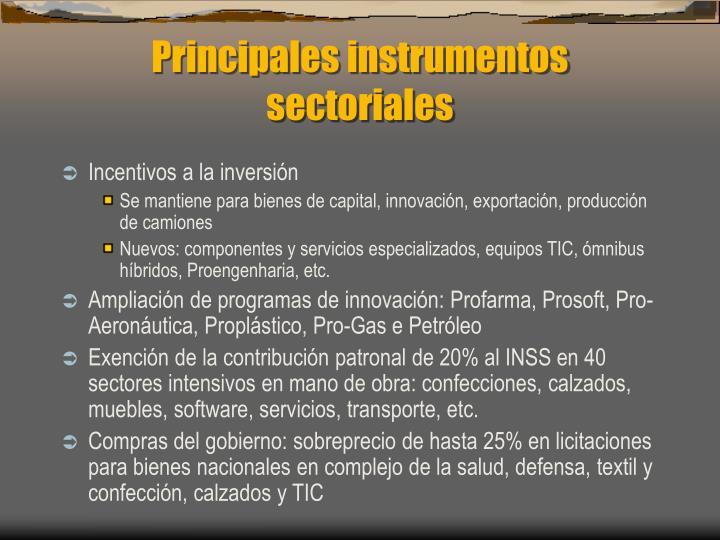 Principales instrumentos sectoriales