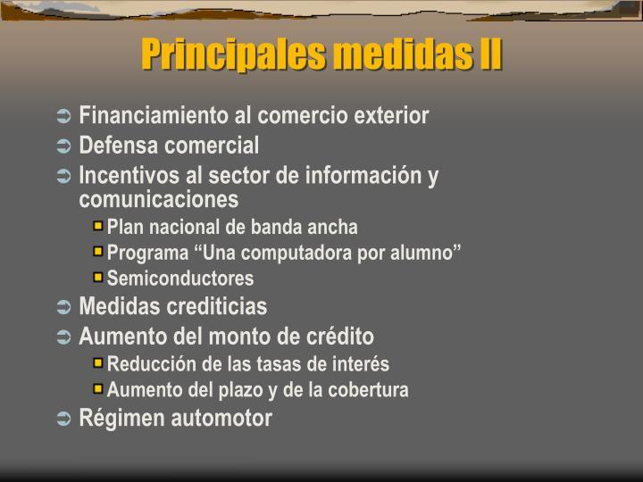 Principales medidas II