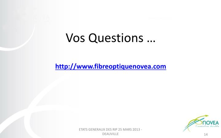 Vos Questions …