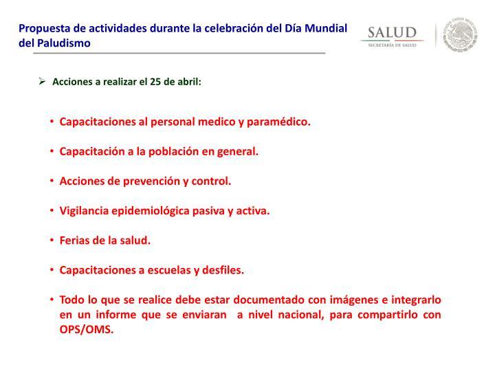 Propuesta de actividades durante la celebración del Día Mundial del Paludismo
