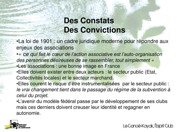Des Constats