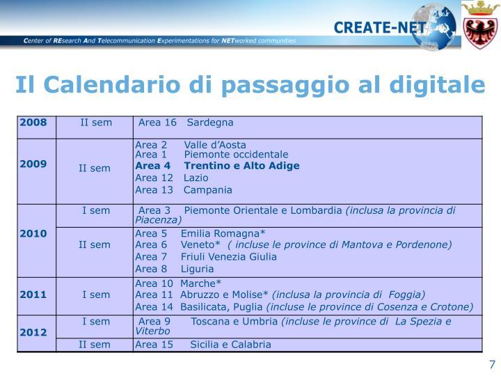 Il Calendario di passaggio al digitale