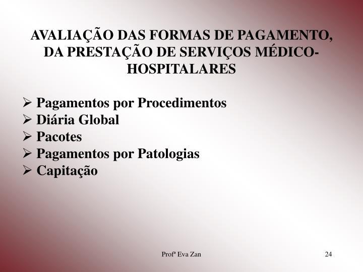 AVALIAÇÃO DAS FORMAS DE PAGAMENTO, DA PRESTAÇÃO DE SERVIÇOS MÉDICO-HOSPITALARES