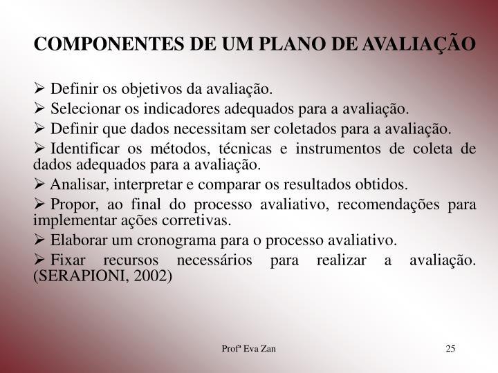 COMPONENTES DE UM PLANO DE AVALIAÇÃO
