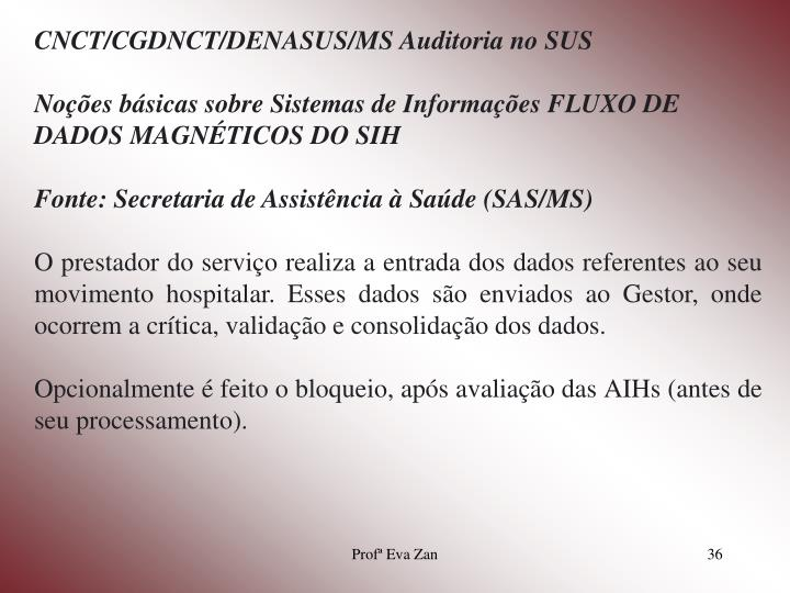 CNCT/CGDNCT/DENASUS/MS Auditoria no SUS