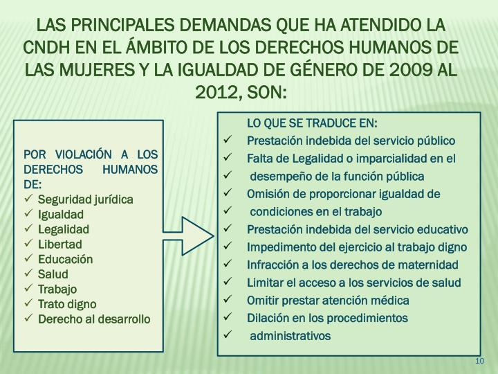 LAS PRINCIPALES DEMANDAS QUE HA ATENDIDO LA CNDH EN EL ÁMBITO DE LOS DERECHOS HUMANOS DE LAS MUJERES Y LA IGUALDAD DE GÉNERO DE 2009 AL 2012, SON: