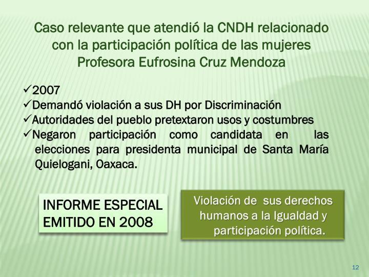 Caso relevante que atendió la CNDH relacionado con la participación política de las mujeres