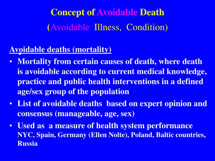 Avoidable deaths (mortality)
