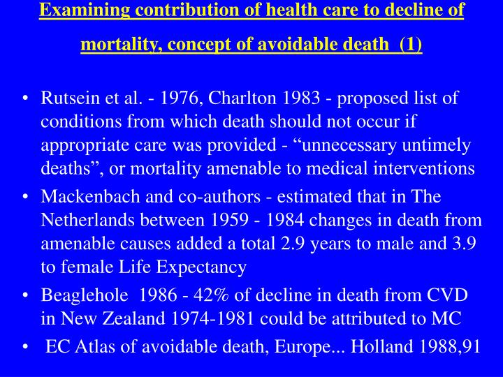 Examining contribution of health care to decline of mortality, concept of avoidable death  (1)