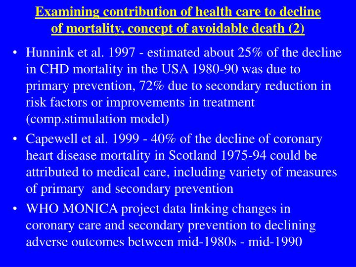 Examining contribution of health care to decline of mortality, concept of avoidable death (2)