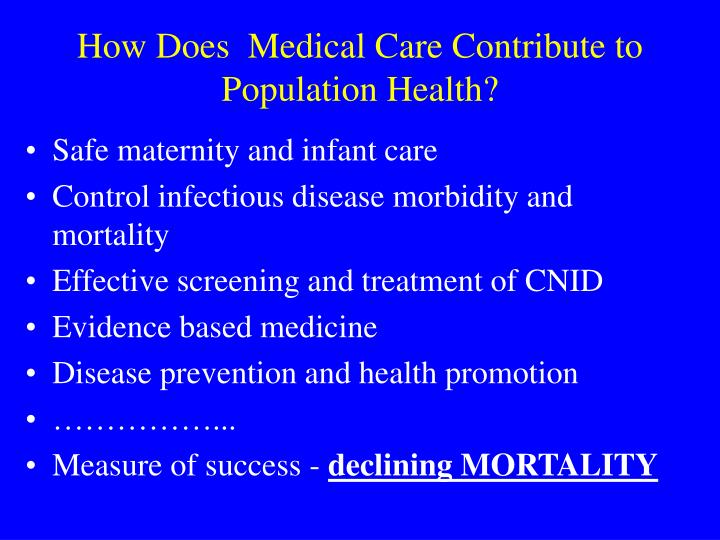 How does medical care contribute to population health