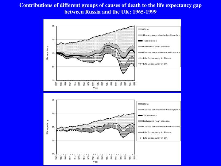 Contributions of different groups of causes of death to the life expectancy gap between Russia and the UK: 1965-1999
