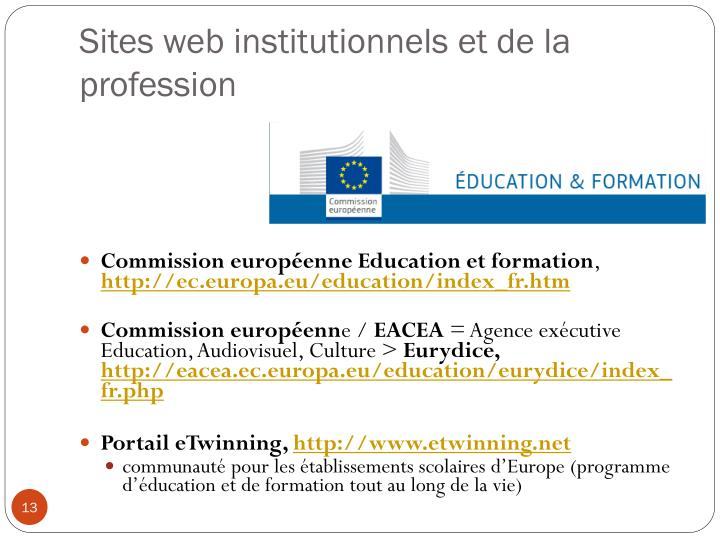 Sites web institutionnels et de la profession