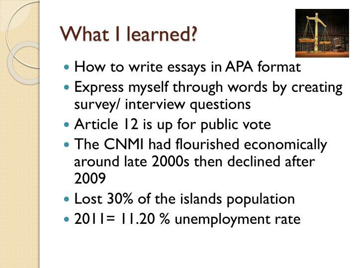 What I learned?