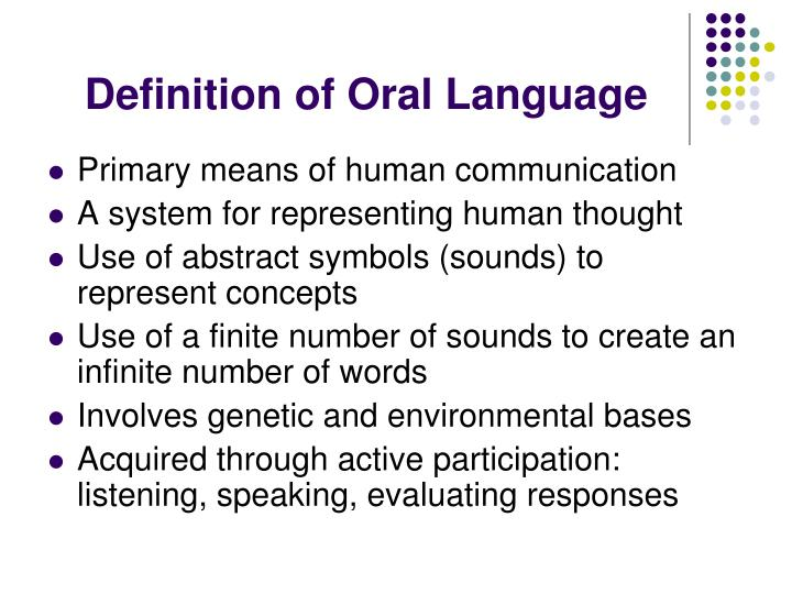 Definition of oral language