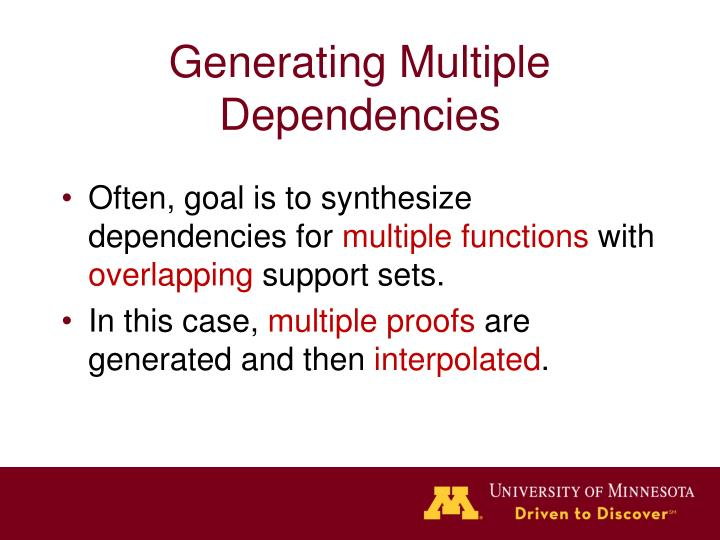 Generating Multiple Dependencies