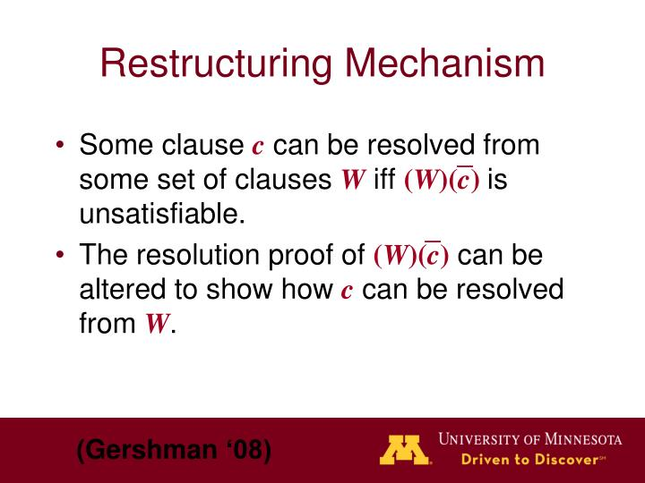 Restructuring Mechanism