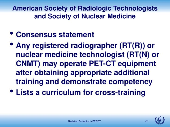 American Society of Radiologic Technologists and Society of Nuclear Medicine