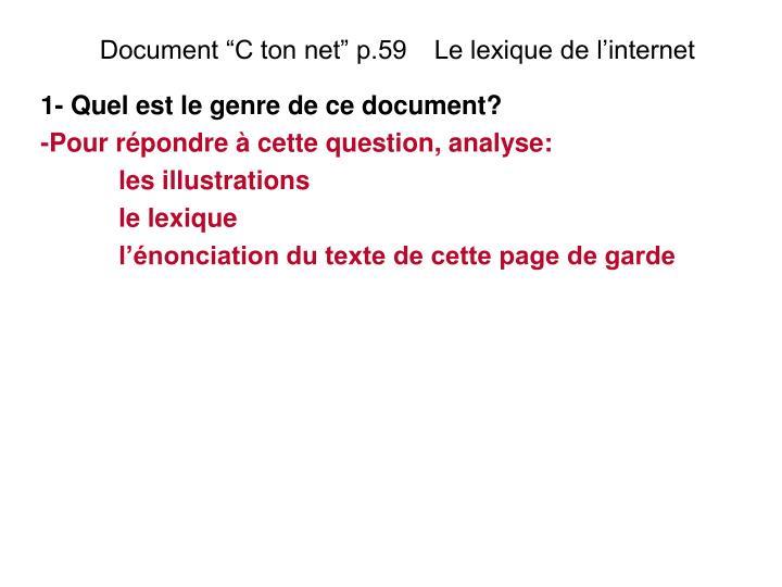 """Document """"C ton net"""" p.59   Le lexique de l'internet"""