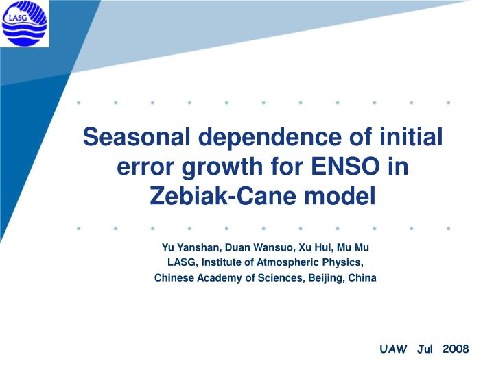 Seasonal dependence of initial error growth for enso in zebiak cane model