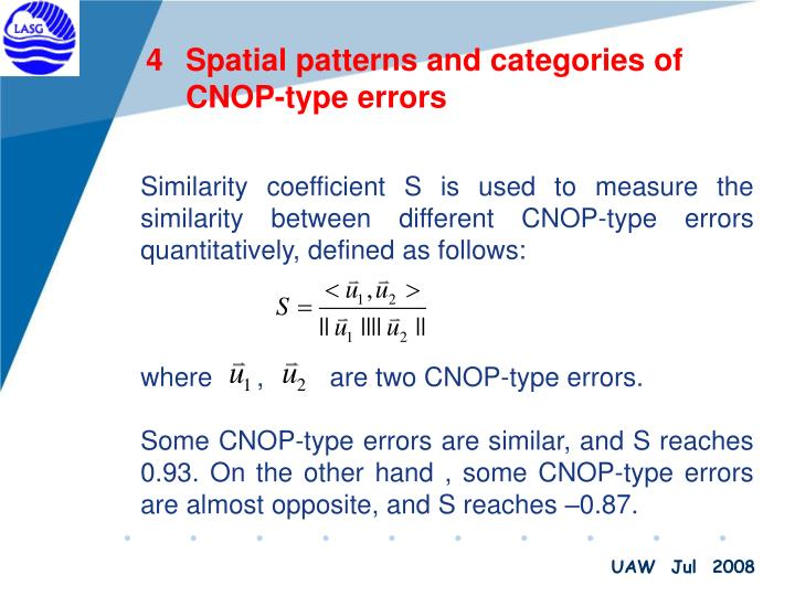 Spatial patterns and categories of CNOP-type errors