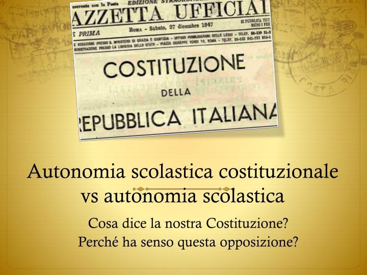 Autonomia scolastica costituzionale