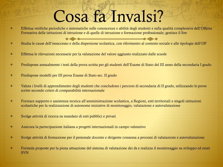 Cosa fa Invalsi?