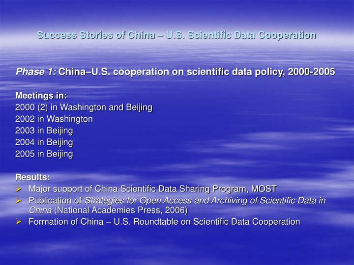Success stories of china u s scientific data cooperation