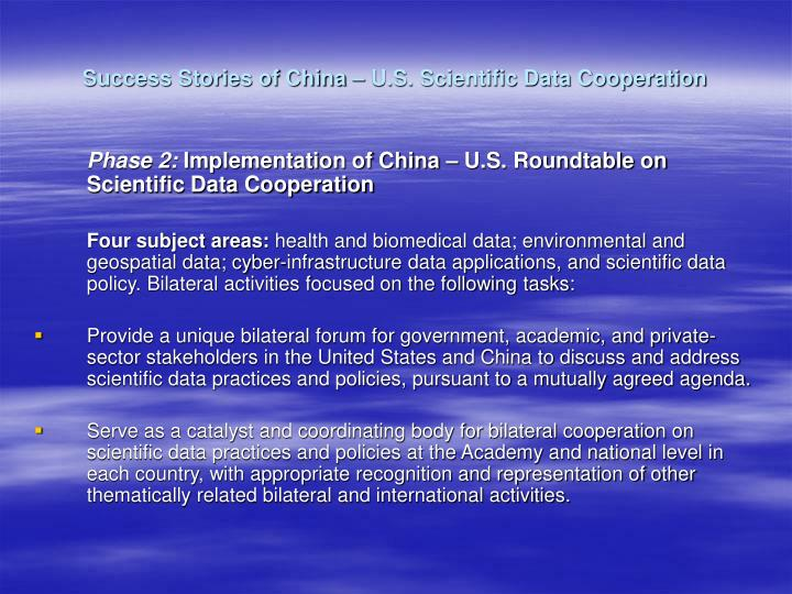 Success stories of china u s scientific data cooperation1