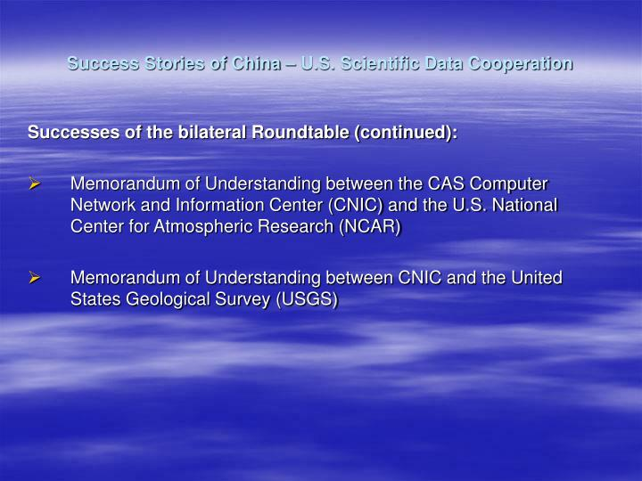 Success Stories of China – U.S. Scientific Data Cooperation