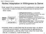 nodes adaptation in willingness to serve