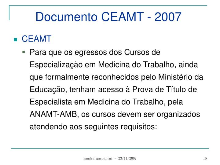 Documento CEAMT - 2007