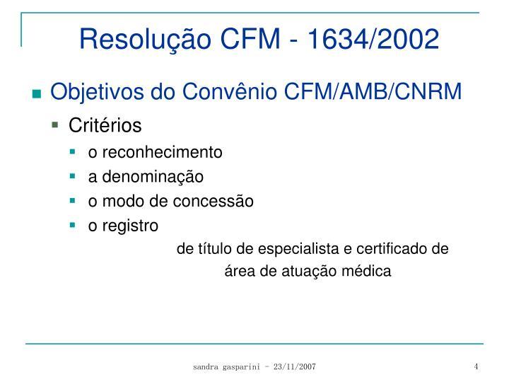 Resolução CFM - 1634/2002