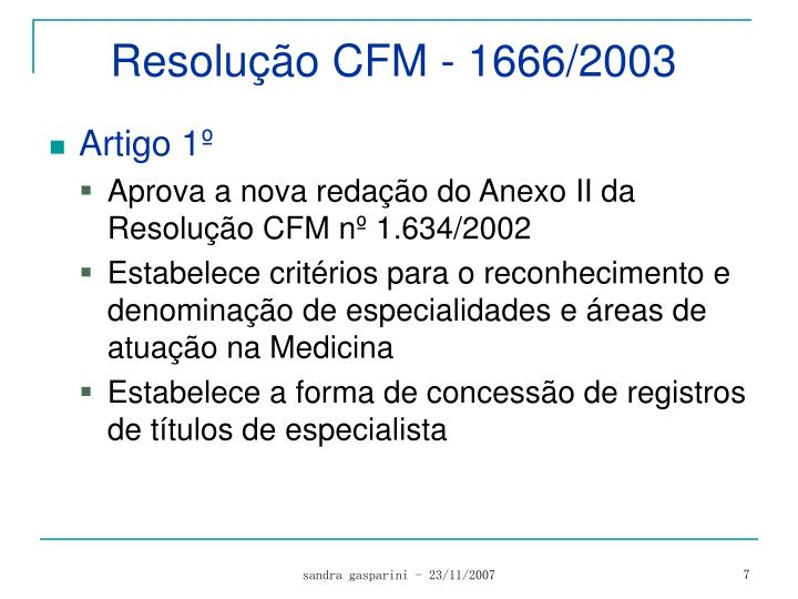 Resolução CFM - 1666/2003