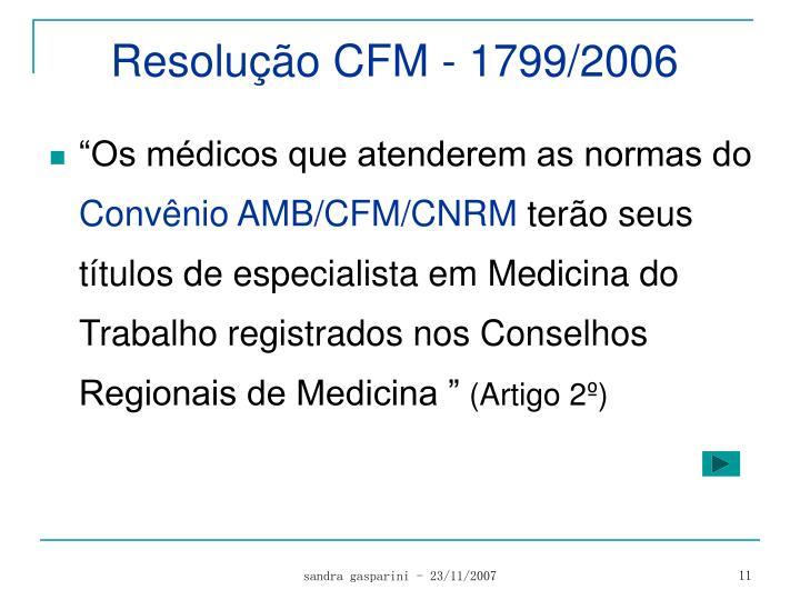 Resolução CFM - 1799/2006
