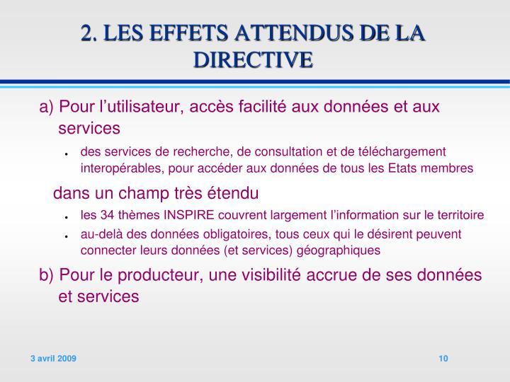 2. LES EFFETS ATTENDUS DE LA DIRECTIVE