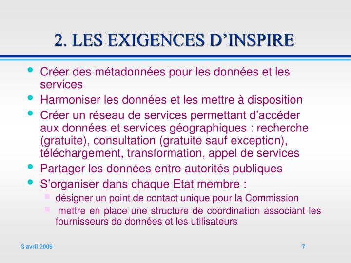 2. LES EXIGENCES D'INSPIRE