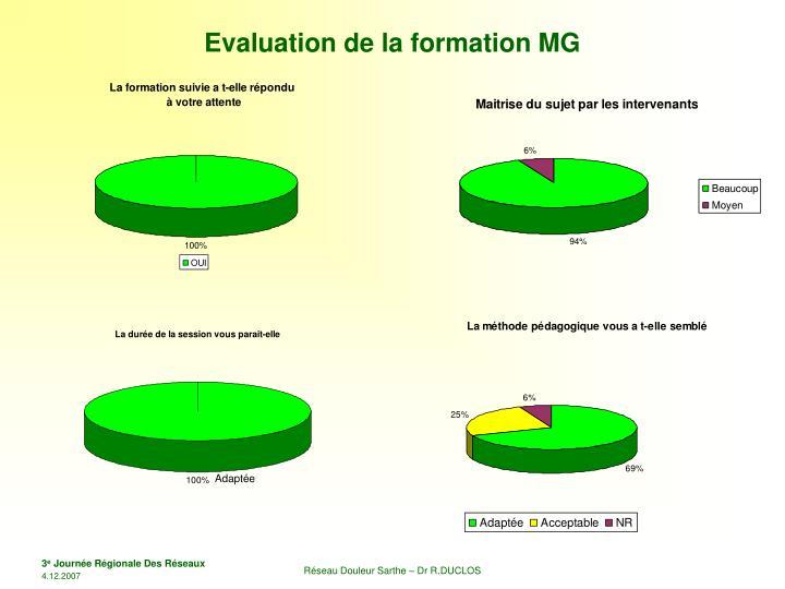 Evaluation de la formation MG